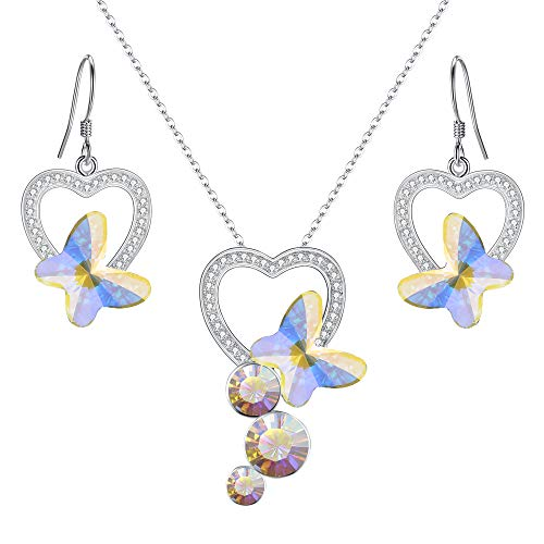 - EleQueen 925 Sterling Silver CZ Butterfly Bridal Pendant Necklace Hook Drop Earrings Set Iridescent Aurora Borealis AB Made with Swarovski Crystals