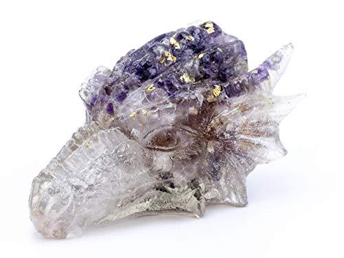 (Purple and Gold Amethyst Seer Stone, Amethyst Geode, Elestial Amethyst, and Citrine Crystals in Resin Orgone Art Dragon Head #42 )