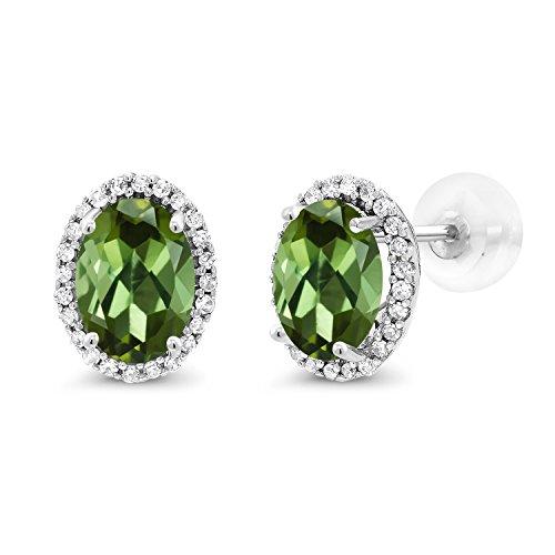 Gem Stone King 1.74 Ct Oval Green Tourmaline White Diamond 10K White Gold Earrings