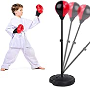 FiGoal Punching Bag for Kids Boxing Set Adjustable Stand with Strong Spring and Flexible Height and 1 Pair of