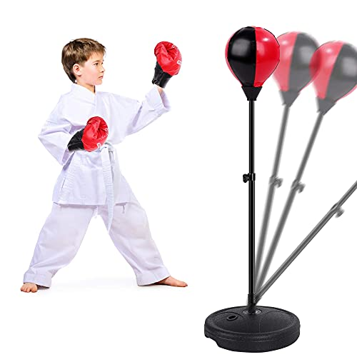FiGoal Punching Bag for Kids Boxing Set Adjustable Stand with Strong Spring and Flexible Height and 1 Pair of Boxing…