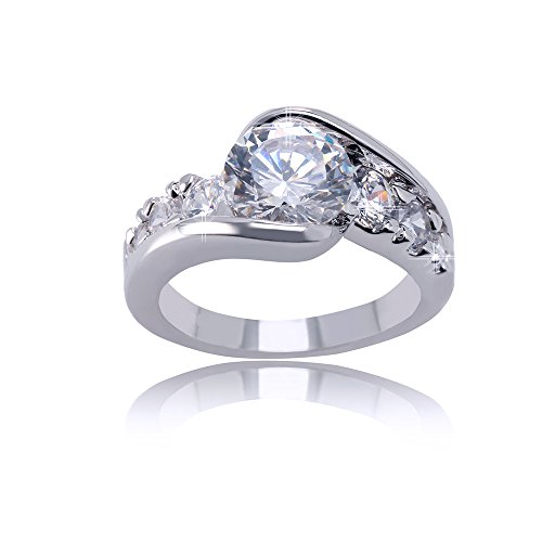 Delicin Jewelry Silver Tone Rhodium Plated Cubic Zirconia Double-Band Curved Ring