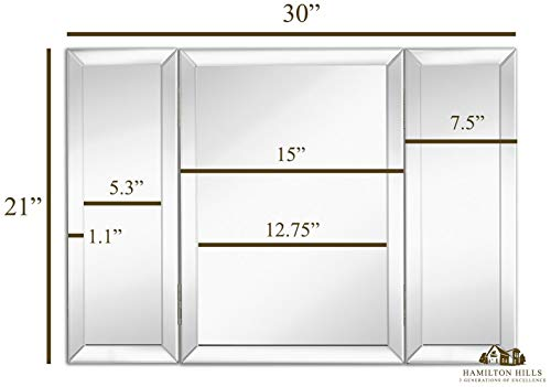 "Hamilton Hills Trifold Vanity Mirror | Solid Hinged Sided Tri-fold Beveled Mirrored Edges | 3 Way Hangable on Wall or Tabletop Cosmetic & Makeup Mirror 21"" x 30"