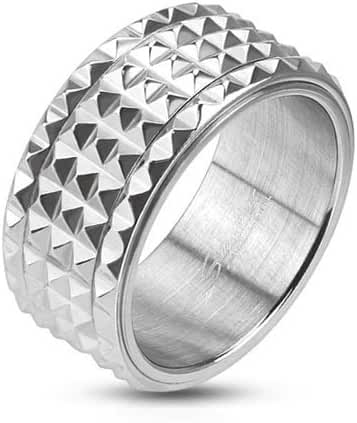 Stainless Steel Wide Multi Small Spiked with Center Spinner Comfort-Fit Band Ring, Width 10MM - Crazy2Shop