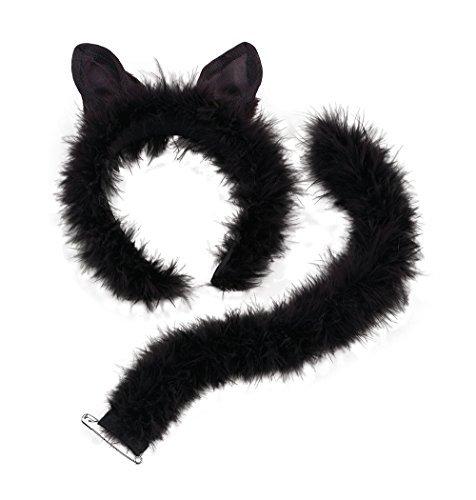 (Black Cat Fancy Dress Set Ears & Tail Halloween)