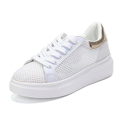 Zapatos para mujer HWF Calzado Deportivo Blanco Calzado Femenino de Verano Femenino Calzado Deportivo de Malla Escolar High School Secundaria (Color : White Pink, Tamaño : 38) White Gold