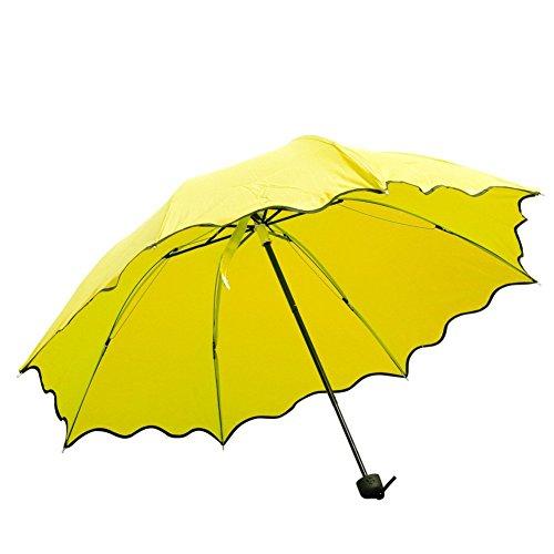 Allrise Colorful Foldable Umbrella-Folding Flouncing Princess Dome Parasol Sun Rain Umbrella (Yellow)