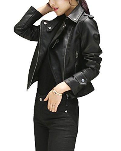 Leather Pu Nero Womens Short Jacket Spring Guiran Autumn Coat Zipper Motorcycle d5Rnvd