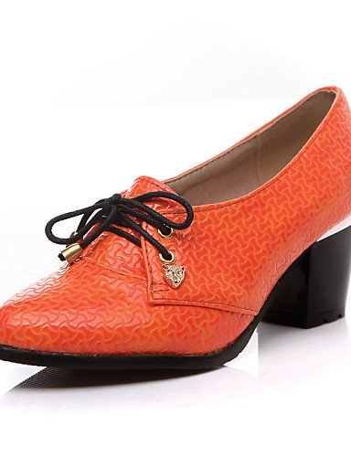 ZQ Zapatos de mujer - Tacón Robusto - Comfort / Puntiagudos - Oxfords - Exterior / Oficina y Trabajo / Vestido - Semicuero -Negro / Beige / , orange-us8 / eu39 / uk6 / cn39 , orange-us8 / eu39 / uk6 / orange-us7.5 / eu38 / uk5.5 / cn38