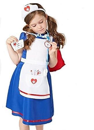 84b91e60e4d35 Blue Hospital Nurse fancy dress Girls Costume with Headband, Stethoscope &  Name Tag, Ages