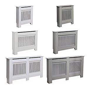 AVC Designs Kensington Radiator Cover Modern MDF Wood White Grey Vertical Slat Living Room Bedroom Hallway Cabinet…