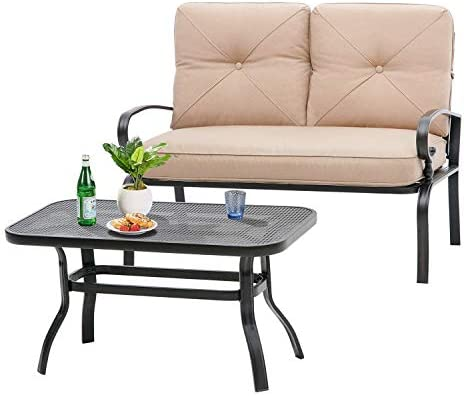 Incbruce Outdoor Patio Furniture Loveseat 2-Piece and Bistro Coffee Table Set Furniture Bench