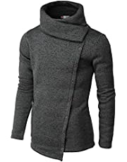 H2H Mens Casual Turtleneck Slim Fit Pullover Sweater Oblique Line Bottom Edge