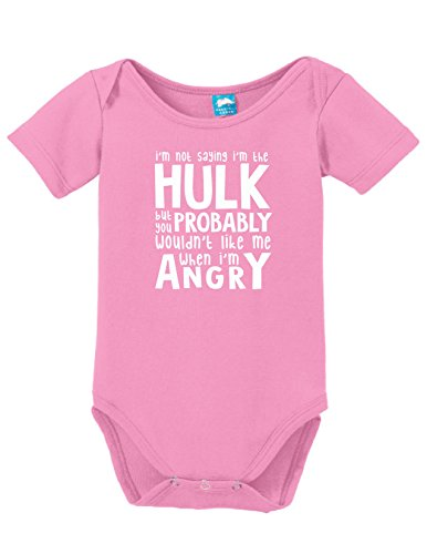 Not Saying Im The Hulk Printed Infant Bodysuit Baby Romper Pink 0-3 Month