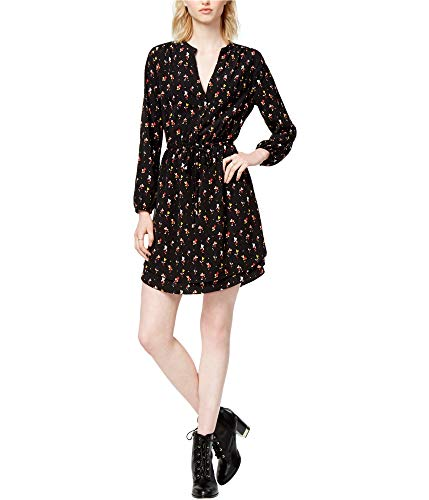 Maison Jules Womens Heart-Print Surplice Dress Black S