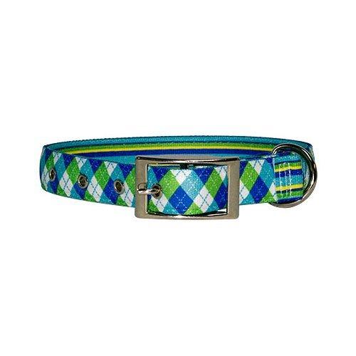 Yellow Dog Design Uptown Collar, Large, Blue/Green Argyle on Stripes