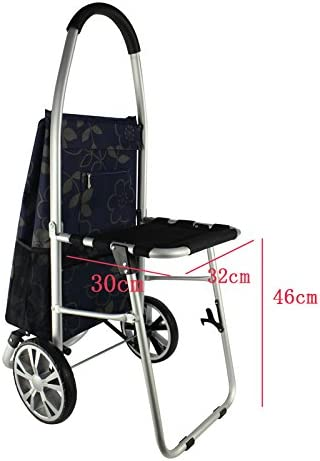 Color : Blue Yxsd Lightweight Shopping Trolley Large Capacity Foldable with Seat Elderly Push-Pull Car