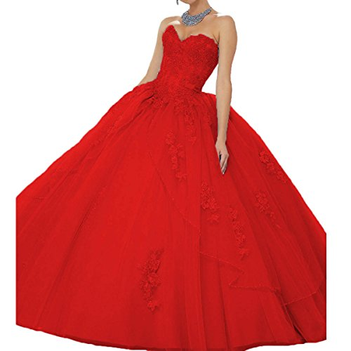 Fair Lady Beaded Lace Sweetheart Quinceanera Dresses Princess Long Ball Gown Prom Dress Pageant Party Gown Red