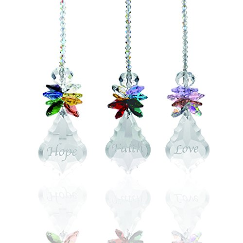 (H&D Glass Crystal Rainbow Angel Ornament Chakra Hanging Suncatcher Window Sun Cactwith Baroque Maple Leaf Pendant for Gift, Pack of 3)