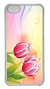 Customized iphone 5C PC Transparent Case - Two Tulips Personalized Cover
