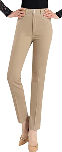 1d9624bacbe Image Unavailable. Image not available for. Color  KXP Women s Stretchy High  Waist Ankle Trousers Straight Leg Plus Size ...