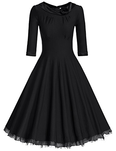 MUXXN Women's Little Black Pleated Stretchy Evening Prom Dress (Lined Satin Little Black Dress)