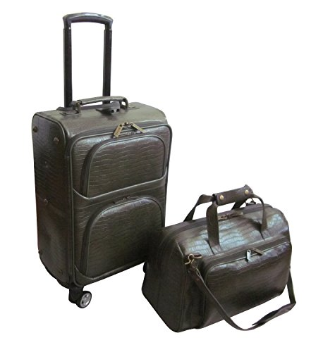 Amerileather Leather Croco-Print Two Piece Set Traveler on Spinner Wheels (#8602-6) (Moss Green) Green Croco Print