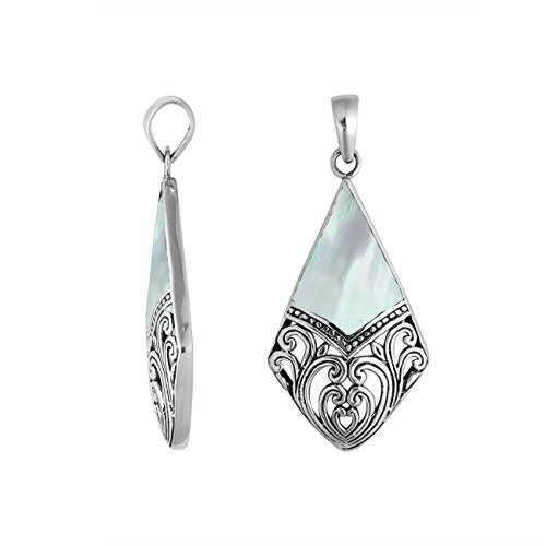 Bali Designs Sterling Silver Diamond Shape Pendant with Mother of Pearl AP-6199-MOP