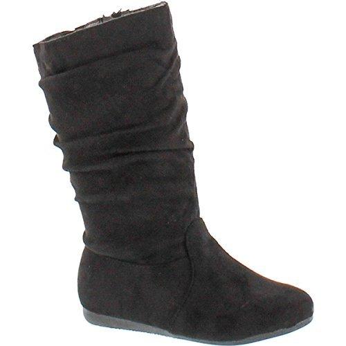 Flat Mid Calf Boots - Link Selena-23K Girl's Mid-Calf Solid Color Flat Heel Slouch Boots,Black,10