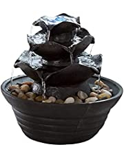 Pure Garden 50-140 Three Tier Cascading Tabletop Fountain with LED Lights