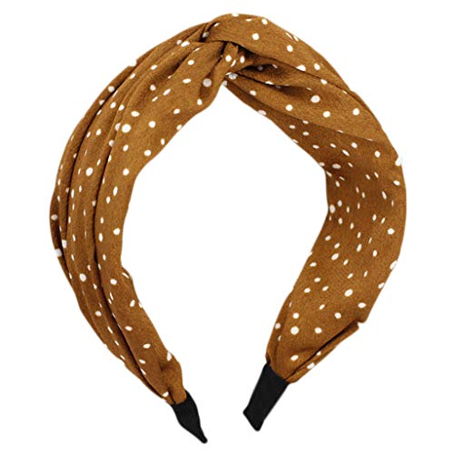 (Simdoc Vintage Small Polka Dot Hair Hoop Wide Headband Pleated Cross Knotted Casual Hair Clasp Hairband Head Wrap Headwear For Women And)