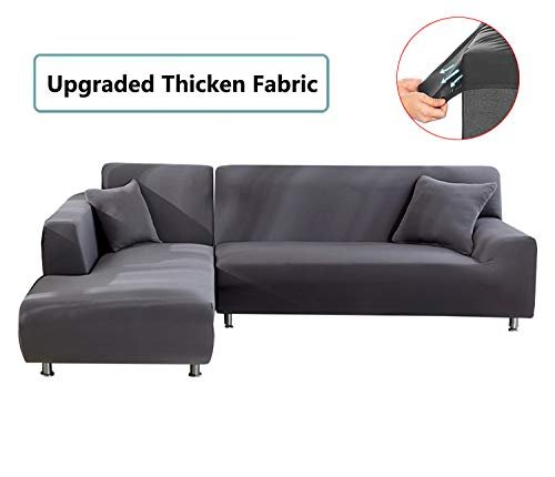 Tutu Home Stretch L Sectional Sofa Cover, Stretch Furniture Protectors, 3 Seater Sofa Slipcover Set for Chaise Lounge, Gray L-Couch Cover (Seater With Lounge 3 Chaise)
