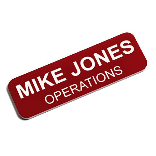 Custom Engraved Name Tag Badges - Personalized Identification with Pin or Magnetic Backing, 1 Inch x 3 Inches, Red/White
