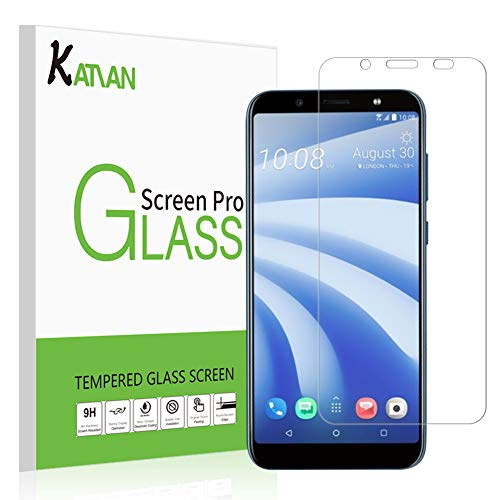 [2 Pack] HTC U12 Life Screen Protector, KATIAN HD Clear Protector [Anti-Scratch] [No-Bubble] [Case-Friendly], 9H Hardness Tempered Glass Screen Film for HTC U12 Life
