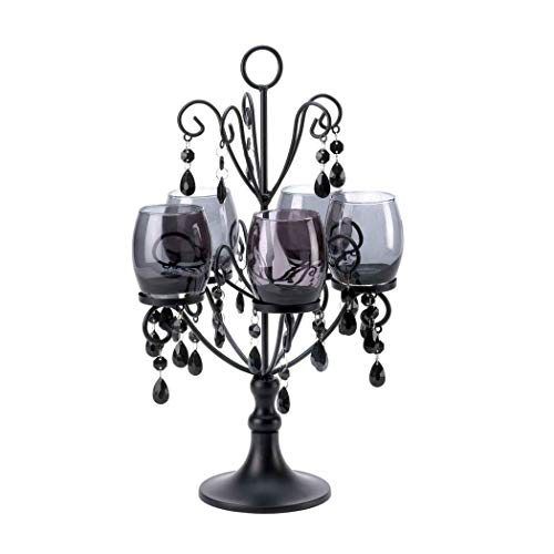 Large 17'' Tall Black Prism Chandelier Candelabra Candle Holder Table Centerpiece by Unknown