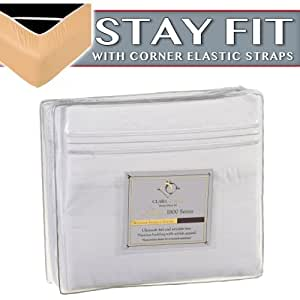 Clara Clark 1800 Series Bed Sheet Sets - Stay fit on mattress with elastic straps at corners - King, White