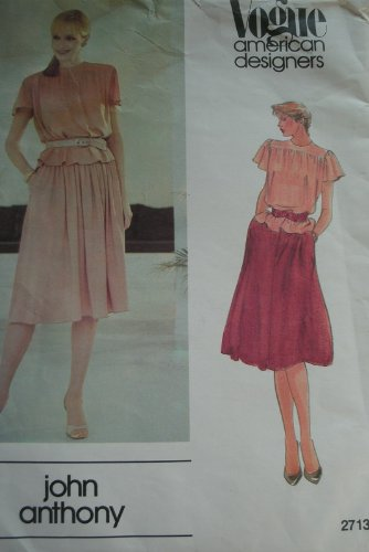 MISSES TOP AND SKIRT SIZE 12 VINTAGE VOGUE AMERICAN DESIGNERS PATTERN 2713 - DESIGNER JOHN ()