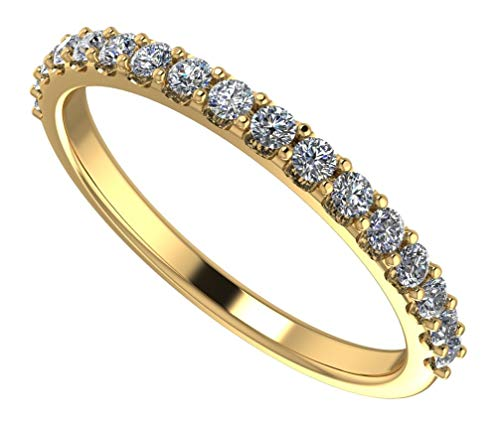 NaNa Simulated Diamond Wedding Ring Swarovski Zirconia Sterling Silver- Stackable Ring-Wedding Band-Yellow Gold Plated-Size 7.5