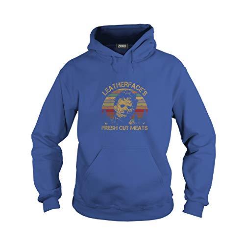 Zoko Apparel Unisex Fresh Cut Meats Adult Hooded Sweatshirt (S, Royal -