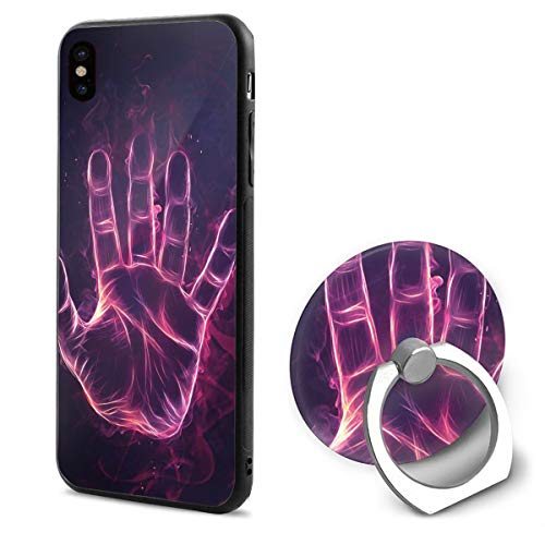 IPhone X Case Digital Art Handprint With Ring Holder 360 Degree Rotating Stand Grip Mounts Slim Soft Protective Cover