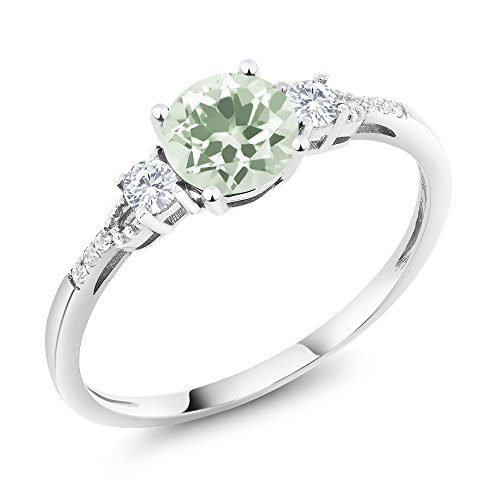 Gem Stone King 10K White Gold Diamond Accent 3-stone Engagement Ring set with Green Prasiolite White Created Sapphire (1.10 cttw, Available in size 5, 6, 7, 8, 9)