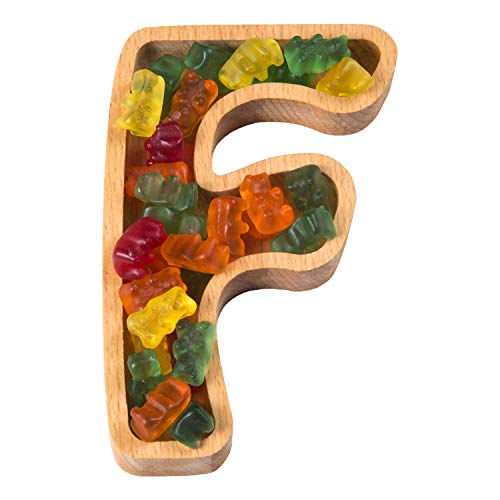 Wooden Letter F Candy Dish | Monogram Nut Bowl | Snack, Cookie, Cracker Serving Plate | Decorative Display, Home Accessory | Unique Gift Idea | for Date, Anniversary, Baby Shower, Birthday Party