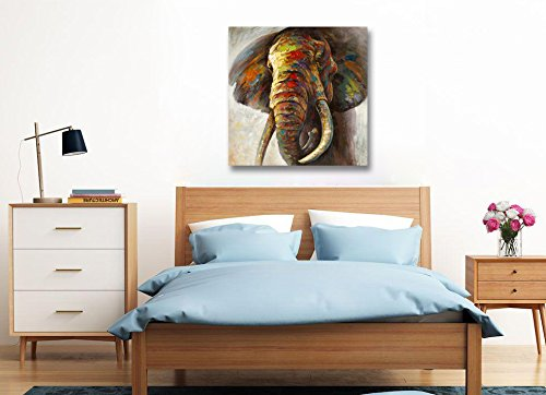 Precious Colorful Abstract Elephant Hand Painted Canvas Wall Art Gallery Wrapped Artwork for Living Room Bedroom Home Office Decoration Xinya-Art 100/% Hand Painted Oil Painting 24x24 Inch