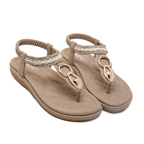 SUKULIS Fashion Leather Women Sandals Bohemian Diamond Slippers Flats Flip Flops Shoes Summer Beach Sandals Khaki 6.5 by SUKULIS