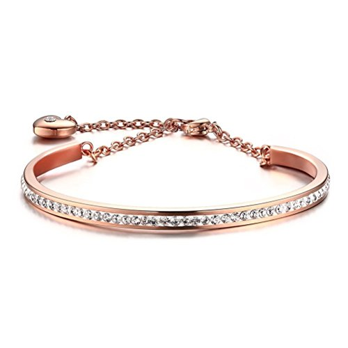 Price comparison product image Girls Stainless Steel CZ Crystal Heart Charm Bangle Bracelet,Rose Gold Plated Link Chain,4mm Width