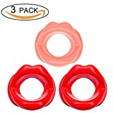 Facial Muscles Beauty - 3 Pieces Silicone Face Slimmer Mouth Tightener Rubber Anti-wrinkle Anti-aging Mouth Muscle Tightener Face Exercise Lips Trainer Face-lift (3 pcs, 2 Red and 1 Pink)