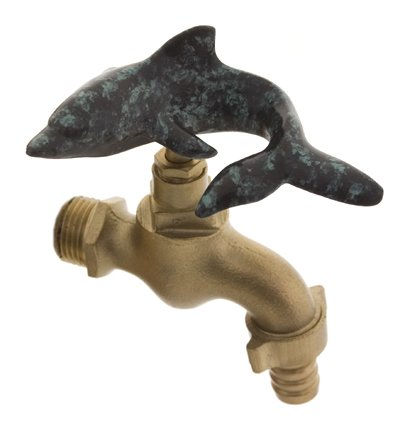 Solid Brass Garden Water Faucet Tap Exclusive Design Dolphin Green (Garden Solid Brass Tap)