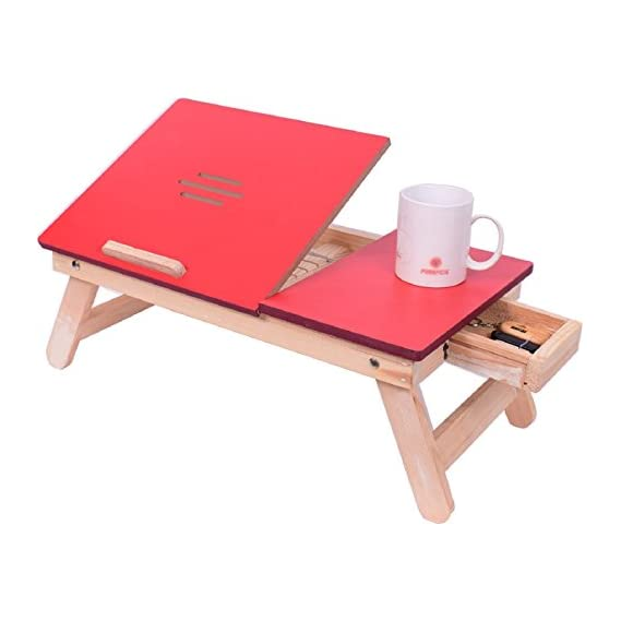 Cadeau Foldable, Adjustable Portable Wooden Laptop Table, Multipurpose Study Table Red with Drawer