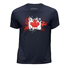 STUFF4 Boy's Age 7-8 (122-128cm) Navy Blue Round Neck T-Shirt/Canada/Canadian Flag