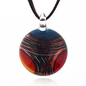 Hand Blown Venetian Murano Glass Multi-Colored Round Pendant Necklace, 18-20 inches